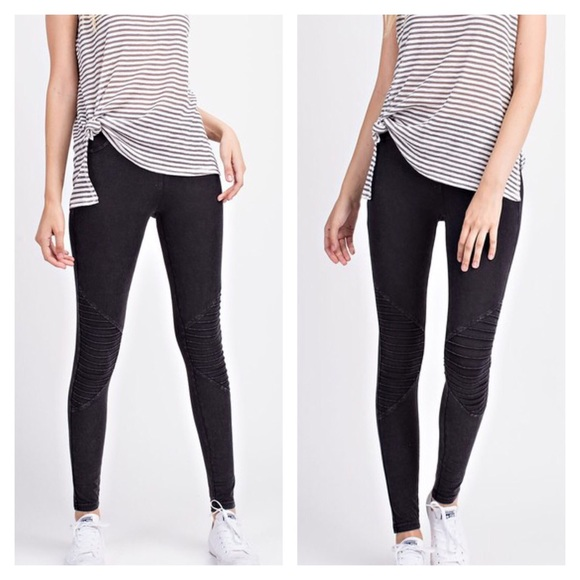 Pants - Mineral Washed Moto Leggings Black Acid Washed